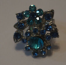 Silver-Tone Adjustable Ring w/ Blue Stones