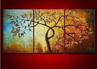 CULOP48  100% hand-painted 3pcs landscape tree oil painting wall art on canvas