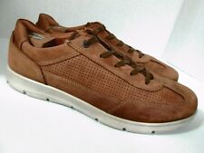 ECCO Men's Brown Nubuck Leather Sneakers Size 46/12 US Made in Portugal