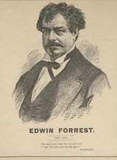 *ASTOR PLACE RIOTS GREAT ACTOR EDWIN FORREST MAGNIFICENT 1872 ENGRAVING*