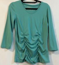 Sahalie S M Blue Long Sleeve Stretch Shirred Top Blouse