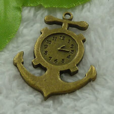 free ship 20 pcs bronze plated anchor clock charms 38x31mm #3325