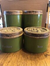 Cheinco Housewares Avocado Green Tin Canister Set Vintage Molded Fruit Brown Lid