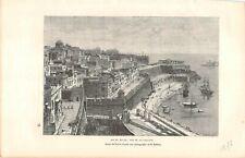 Gravur Presse- - Insel Malta, -ansicht La Valletta - Zeichnung von Taylor - 1876