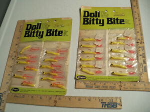 Vintage Thompson Doll Bitty Bite Display On Card NOS Fishing Lure Beetle Jig Lot