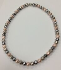 Ladies Magnetic Healing Necklace Pearl look pink grey silver magnet therapy