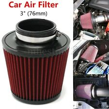 "Car 3"" High Flow Inlet Short RAM Cold Air Intake Round Cone Air Filter Cleaner"