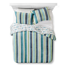 Homthreads Dana Point Quilt and Pillow Sham Set Blue King Bedding Stripe Fish