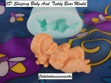 Sleeping Baby Teddy Bear Silicone Fondant Stampo Torta Decorazione Cioccolato Baking