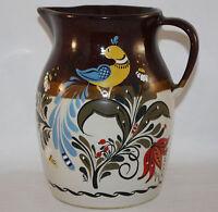 VTG RRP ROSEVILLE pottery FOLK ART HANDPAINTED PITCHER, BIRD, FLOWERS