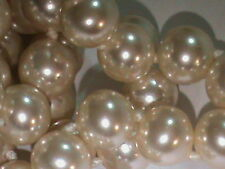 2 LONG 8 MM Majorca Pearl Necklace Strands Vintage 30 Inch Knotted & Tip Ends