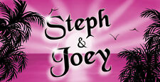"""Hot Pink Sunset Decal Bumper Sticker 3.5"""" x 6"""" Personalize Any Name Or Text"""