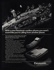 1985 PANASONIC Cordless Telephone - Man Grilling & Talking on Moon -  VINTAGE AD