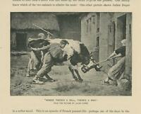 ANTIQUE STUBBORN DAIRY COW GIRL MAID WHERE'S THERE IS WILL THERE'S A WAY PRINT