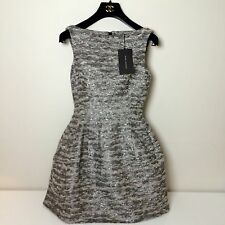 New Zara Woman Silver Metallic Structured Tulip Tweed Boucle Mini Dress  XS