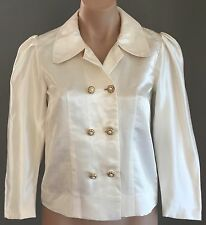 Hand Made 80's Ivory Fitted 3/4 Puffy Sleeve Cropped Jacket Size 8/10