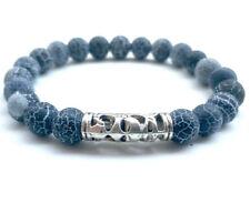 8mm Natural Volcanic rocks Long bend Navy Blue Bracelet yoga Mala