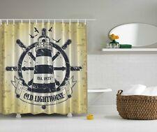 Rustic Old Lighthouse Graphic Shower Curtain Birds Beach Nautical Bath Decor