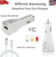 Genuine 2A Adaptive Fast Car Charger for Samsung S6 S7 Edge Note 4 5 USB Cable