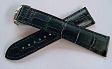 BLACK LEATHER STRAP & DEPLOYMENT CLASP 20mm for OMEGA DIVER and DE-VILLE Series