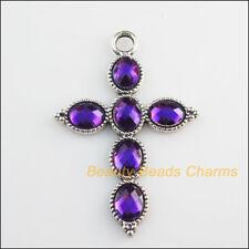 2 New Charms Purple Glass Crystal Cross Pendants Tibetan Silver Tone 41x61mm