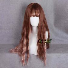 70CM Lolita Mixed Brown Long Wavy Fluffy Thin Bang Curly Retro Cosplay Wig+Cap
