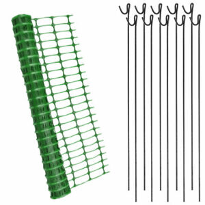 25m x 1m Green Plastic Mesh Safety Barrier Fencing & 10 Steel Metal Fencing Pins
