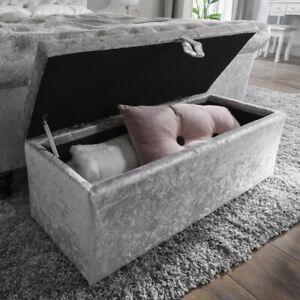 Luxury silver crushed velvet gas lift ottoman storage box RRP £169.99