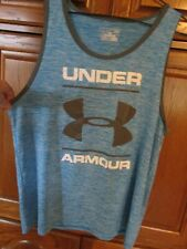 mens blue gray white under armour muscle shirt tank top loose fit heat gear l