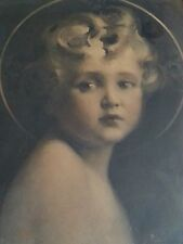 """Antique gravure etching """"Light of the World"""" Angel 19.5×23.5 inches, 1800's"""