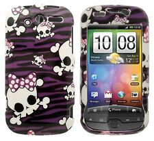 For T-Mobile myTouch 4G Hard Protector Case Snap on Phone Cover Purple Skulls