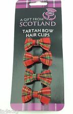 Red Tartan bow hair clips dispatched same dayRed Tartan Bow hair Clips Four Clip
