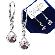 925 Sterling Silver Earrings Infinity Aquamarine Crystals From Swarovski®