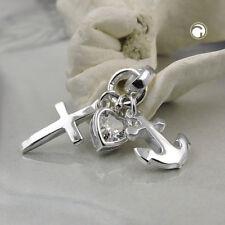 925 Sterlingsilber Silberanhänger Anhänger Glaube-Liebe-Hoffnung Silber
