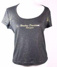 Ladies Harley Davidson 100 Years Size L Black and Gold T-Shirt  Sierra Vista AZ