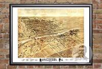 Vintage Bethlehem, PA Map 1878 - Historic Pennsylvania Art Victorian Industrial