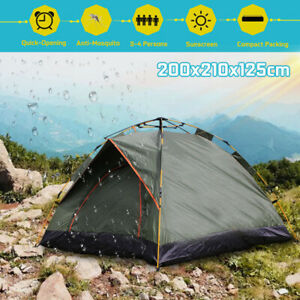 3-4 Person Fully Automatic Pop Up Dome Tent Camping Hiking 210D Waterproof #