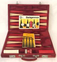 Backgammon Set With Red Velvet Carry Case 1983 KTG 100% Complete Vintage