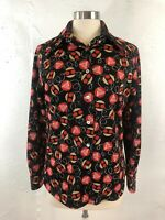 Vintage 70s Womens Disco Shirt Abstract Geoometric Poly Knit Big Collar Groovy