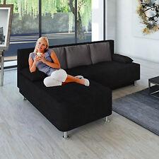 VCM Ecksofa Magota schwarz Couch mit Schlaffunktion