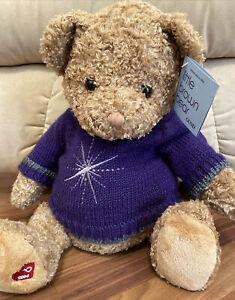 """VINTAGE Gund Bloomingdales LITTLE BROWN BEAR 2004 16"""" purple sweater #44569 NWT"""