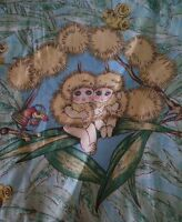 Vintage MAY GIBBS GUMNUT BABIES with BLUEBIRD Suede Backed Fabric (30cm x 30cm)