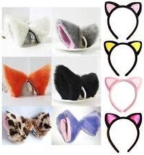 Cat Fox Ears Cosplay Anime Neko Costume Hair Clip Long Fur Barrette Accessories