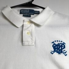 Polo Ralph Lauren Boy's Short Sleeve Polo Shirt XXL 2XL White Blue Slim Fit Logo