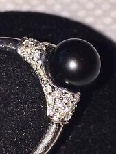 Gorgeous 14K White Gold Tahitian Black Pearl & Diamond Ring   Size 7