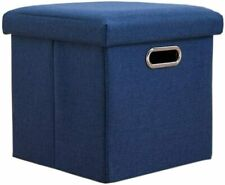 Ottoman Folding Storage Cube Foot Rest Stool Seat Foldable Box 11.8x11.8in Navy
