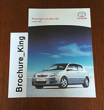 Toyota Passenger Car Range Price List August 2005 Yaris Corolla etc Brochure