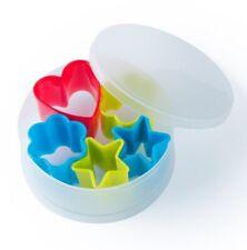 Set 5 Moldes para galletas multicolor,diseños corazón, estrella y flor, cocina
