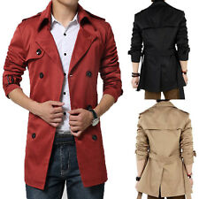 Mens Double Breasted Long Jacket Winter Men Slim Fit Coat Strappy Parka Outwear
