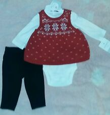 NEW Carter's 3 Months Baby Girl Christmas Sweater-Knit Dress + Bodysuit + Pants
